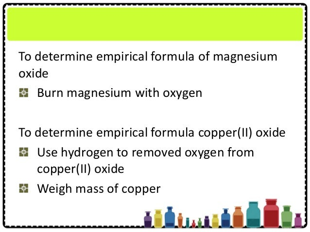 empirical formula of an oxide lab report Determination of the empirical formula of unknown compound lab# 1  grams of the unknown compound 6  the oxygen in the air to form magnesium oxide.