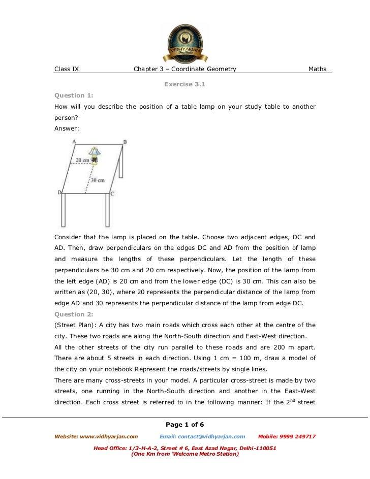 Class IX                    Chapter 3 – Coordinate Geometry                             Maths                             ...