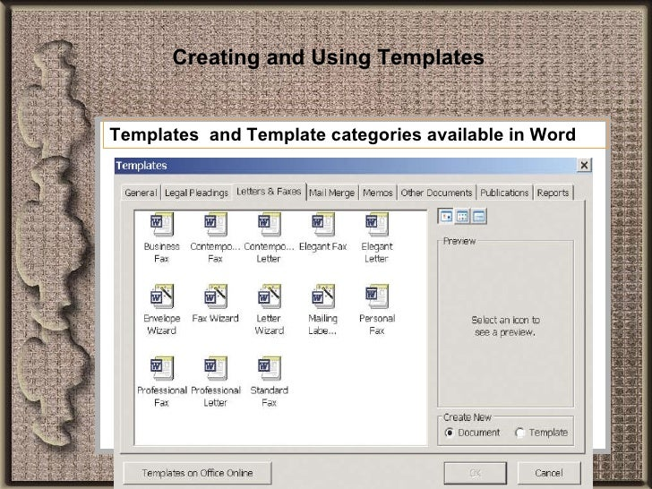 using a template in word