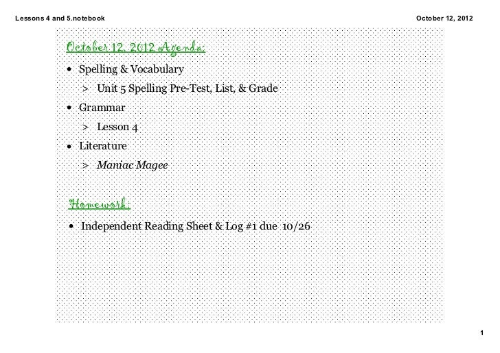 Lessons4and5.notebook                                        October12,2012             October 12, 2012 Agenda:     ...
