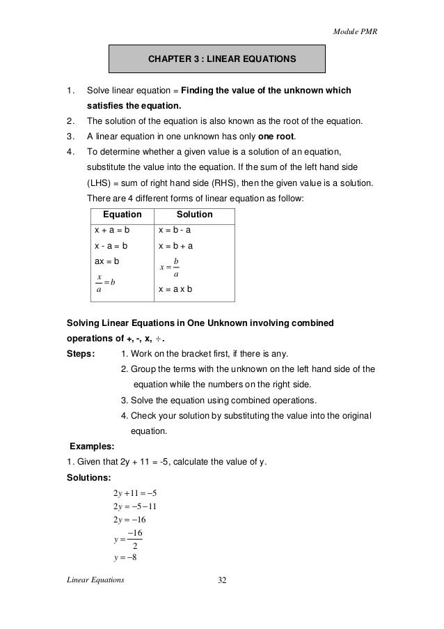 Chapter 3 linear equations