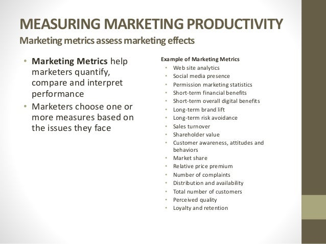 approaches used to measure marketing productivity are