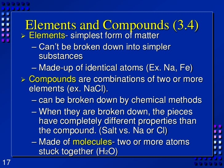 simplest form of matter  Chapter 8 Matter Properties And Changes