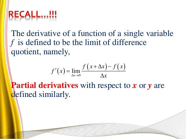 Applied Calculus Chapter 3 partial derivatives