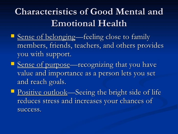 the importance of mental and emotional health Achieving mental and emotional health, health study guide by caseyniocole99 includes 158 questions covering vocabulary, terms and more quizlet flashcards, activities and games help you improve your grades.
