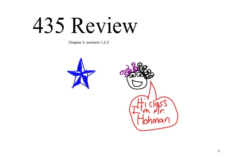 435 Review    Chapter 3, sections 1,2,3                                    1