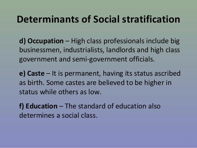 Determinants of Social stratification d) Occupation – High class professionals include big businessmen, industrialists, la...