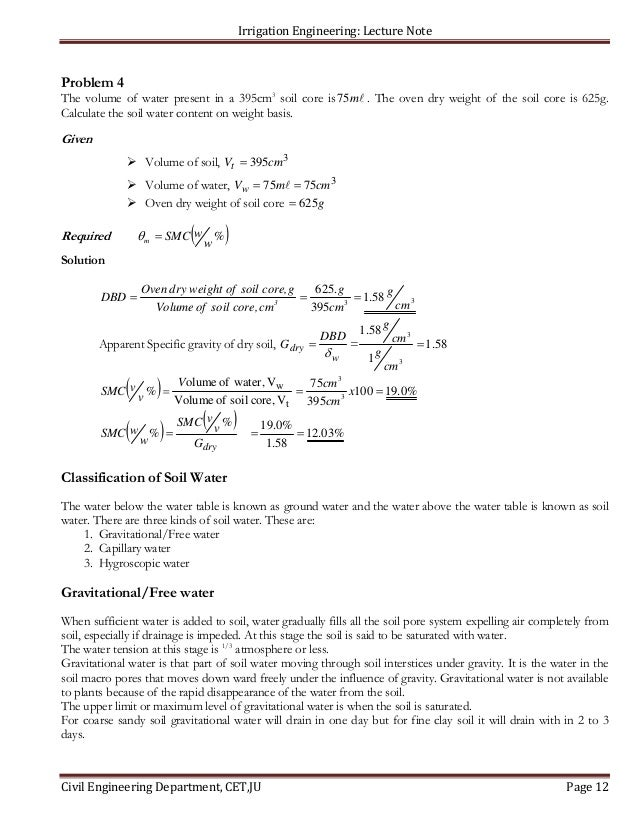 Chapter 3 soil water and irrigation practice1 for Soil volume calculator