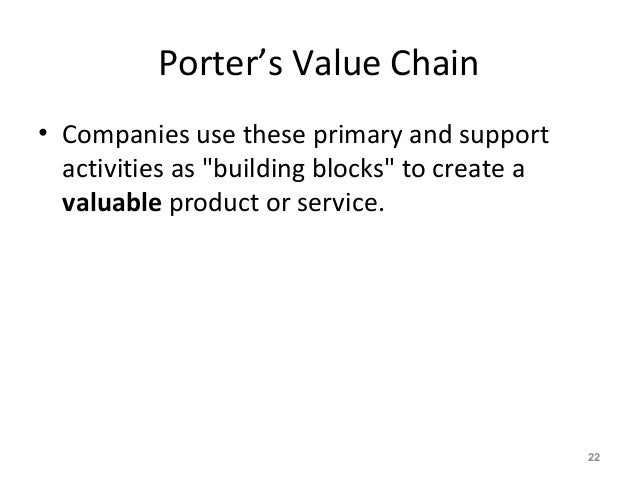 """Porter's Value Chain • Companies use these primary and support activities as """"building blocks"""" to create a valuable produc..."""