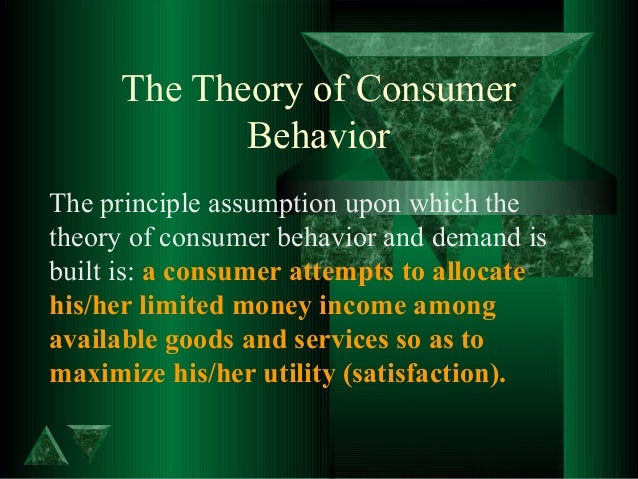 an analysis of the theory of consumer choice and the definition of utility Definition the difference between the utility gained and the price paid by the consumer the utility gained would measure the value of the product to the consumer.
