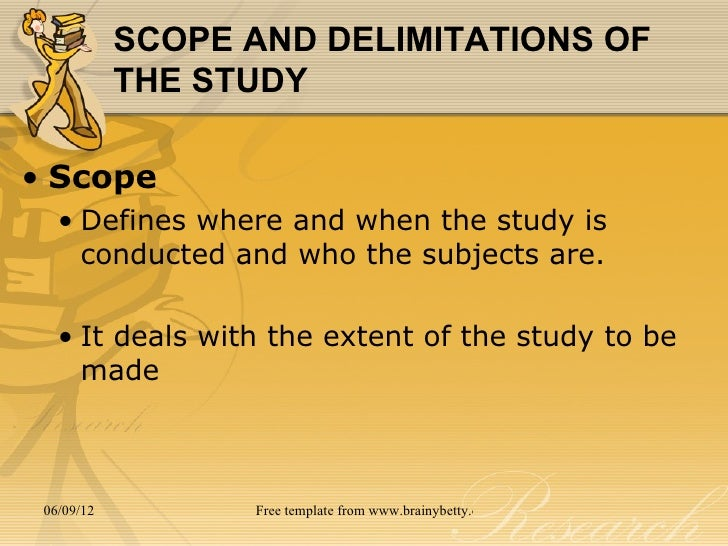 delimitations research paper Scope and limitation of study are two elements of a research paper that inform the reader what information is included in the research that is being.