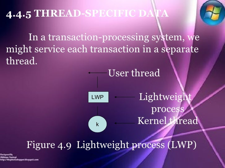 4.4.5 THREAD-SPECIFIC DATA In a transaction-processing system, we might service each transaction in a separate thread. Use...