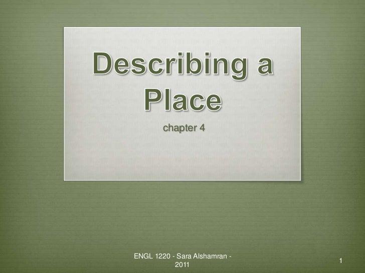 chapter 4ENGL 1220 - Sara Alshamran -                               1           2011