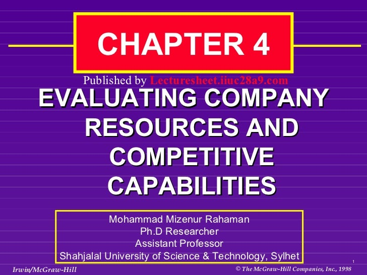 EVALUATING COMPANY RESOURCES AND COMPETITIVE CAPABILITIES CHAPTER 4  Mohammad Mizenur Rahaman Ph.D Researcher Assistant Pr...