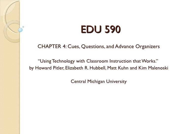 "EDU 590    CHAPTER 4: Cues, Questions, and Advance Organizers    ""Using Technology with Classroom Instruction that Works.""..."