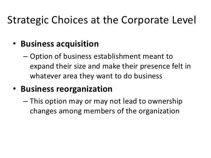 Strategic Choices at the Corporate Level • Business acquisition   – Option of business establishment meant to     expand t...