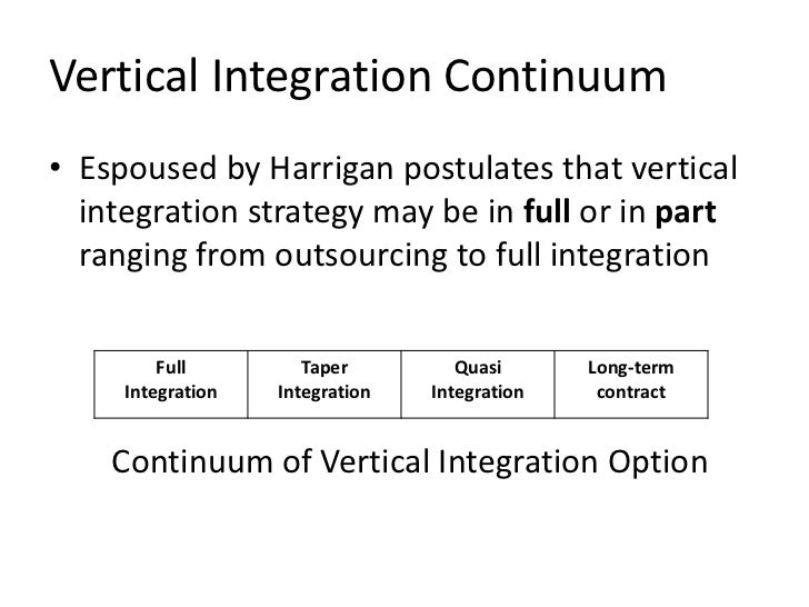 Vertical Integration Continuum• Espoused by Harrigan postulates that vertical  integration strategy may be in full or in p...