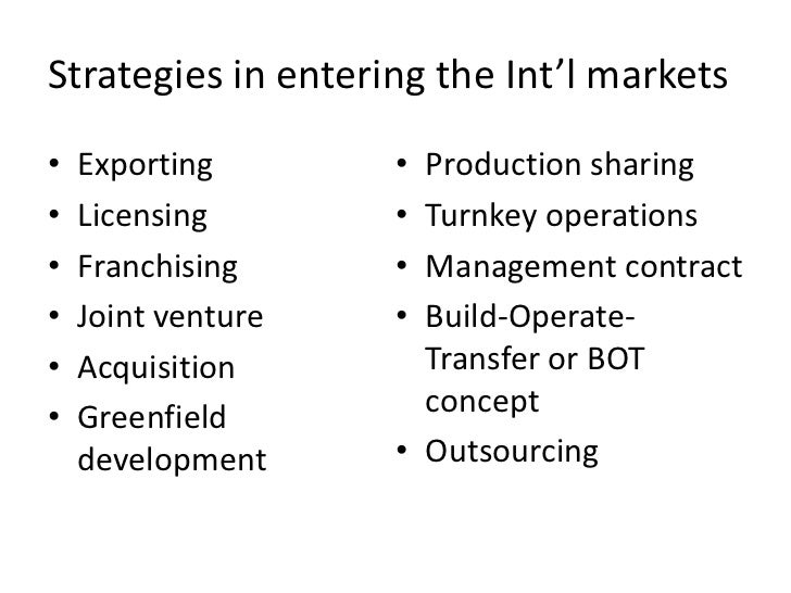 Strategies in entering the Int'l markets•   Exporting       • Production sharing•   Licensing       • Turnkey operations• ...