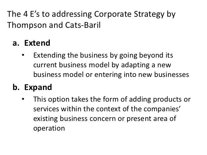 The 4 E's to addressing Corporate Strategy byThompson and Cats-Baril a. Extend   •   Extending the business by going beyon...