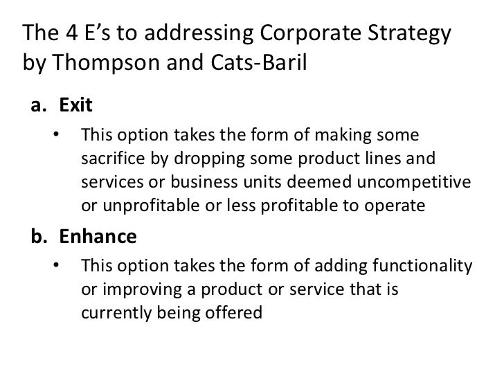 The 4 E's to addressing Corporate Strategyby Thompson and Cats-Barila. Exit  •   This option takes the form of making some...