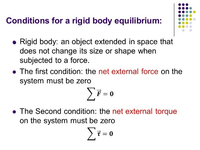 static equilibrium forces and torques To be able to solve problems involving static equilibrium 11 set up a rotary motion in the situation in part d, does it matter (for determining whether the rod is balanced) where the force is exerted on the rod explain 12 a if both the net force and the net torque are zero, then the object is said to be in static equilibrium.