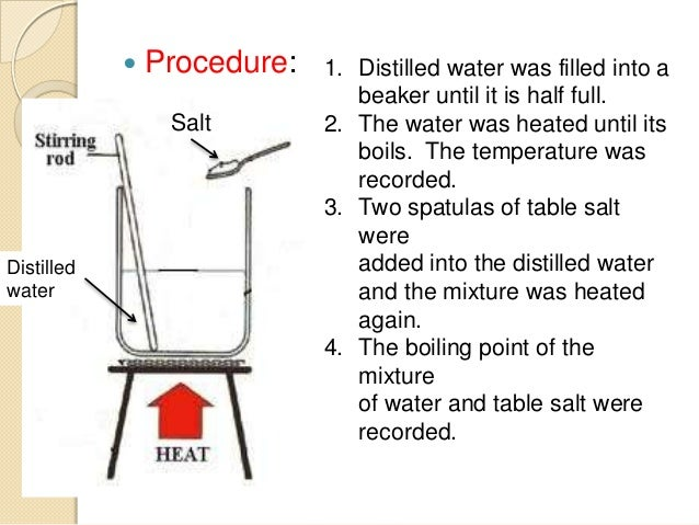 salt effect on the boiling point of water experiment Question: how does adding salt affect the boiling point of water - when will the experiment stop we are testing the boiling point of salt water and will need.
