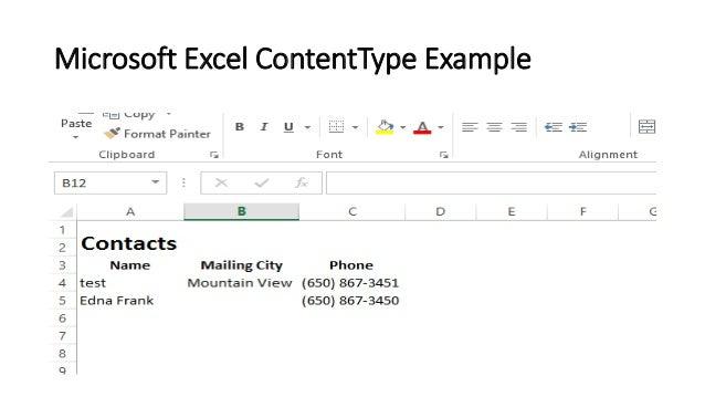 content type excel