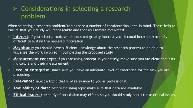 selecting the research problem