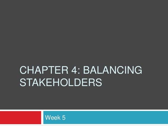 CHAPTER 4: BALANCINGSTAKEHOLDERS    Week 5