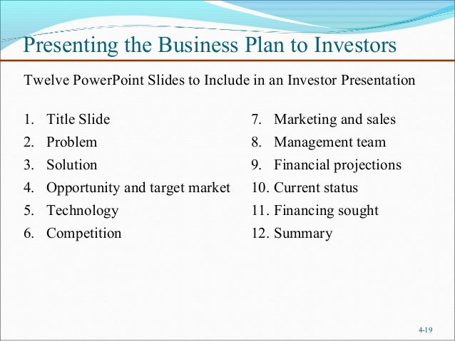 putting together a business plan for investors