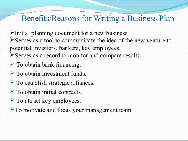 benefits of developing a business plan