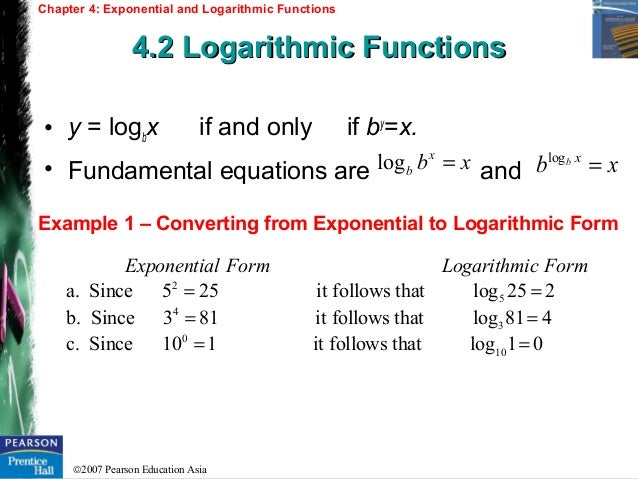 Chapter 4 Exponential and Logarithmic Functions – Exponential and Logarithmic Functions Worksheet