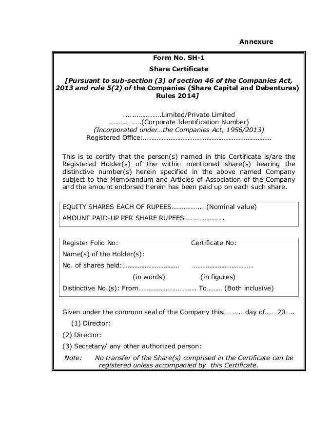 The new Companies Law 2013 India Chapter 4 Share Capital and Deb – Company Share Certificates