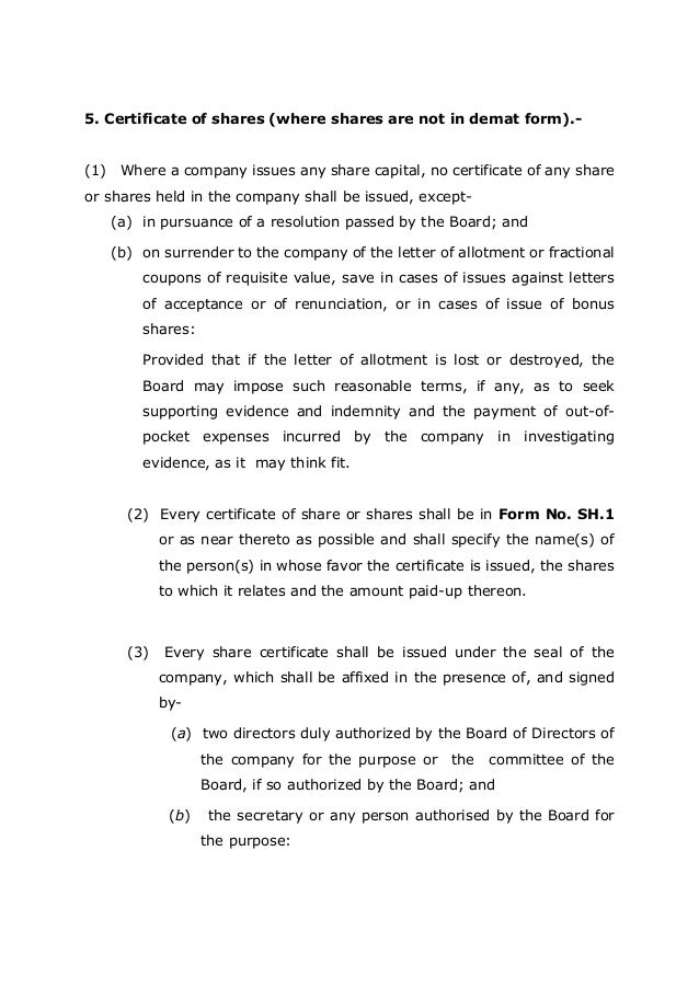 The new companies law 2013 india chapter 4 share capital and deb 7 5 certificate of shares yadclub Image collections