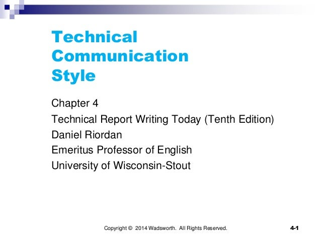 Chapter 4 technical communication style