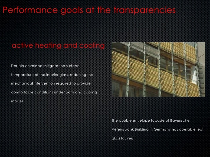 active heating and cooling Performance goals at the transparencies Double envelope mitigate the surface temperature of the...