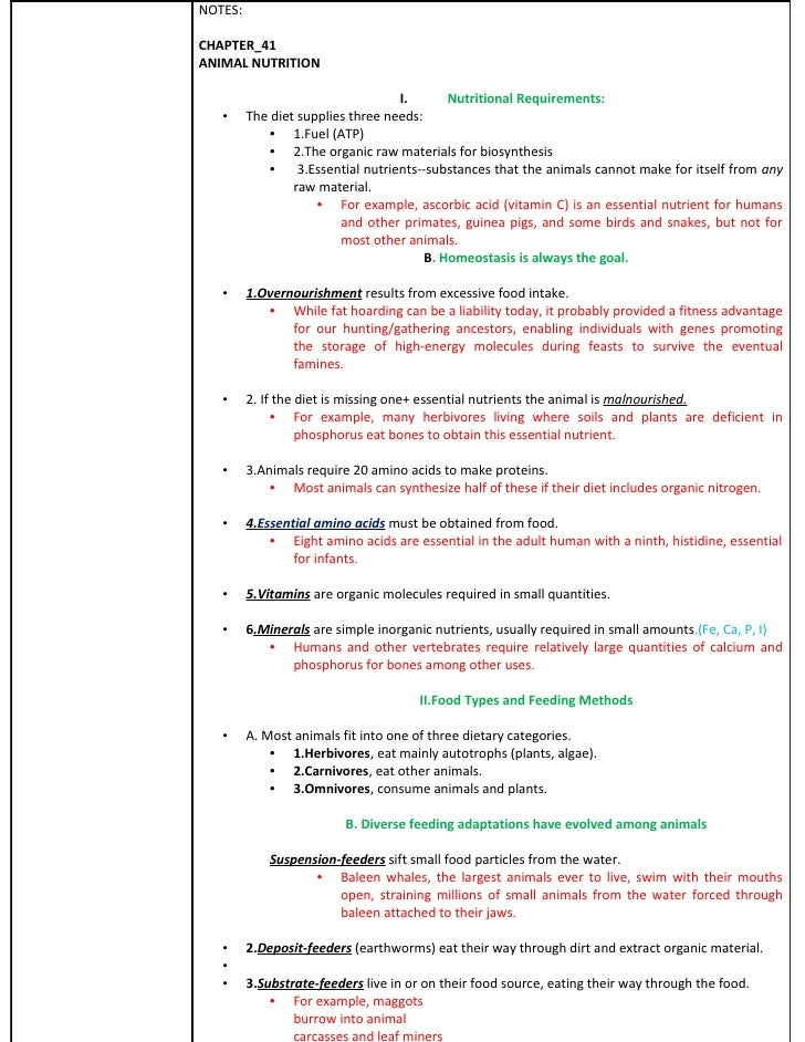 NOTES:  CHAPTER_41 ANIMAL NUTRITION                                      I.       Nutritional Requirements:    •     The d...