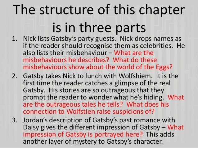 great gatsby chapters Wwwtescouk/greatgatsby forms part of the new tes english collection on the great gatsby by f scott fitzgerald chapter-by-chapter activities.