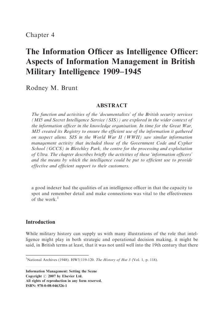 Chapter 4  The Information Officer as Intelligence Officer: Aspects of Information Management in British Military Intelligen...