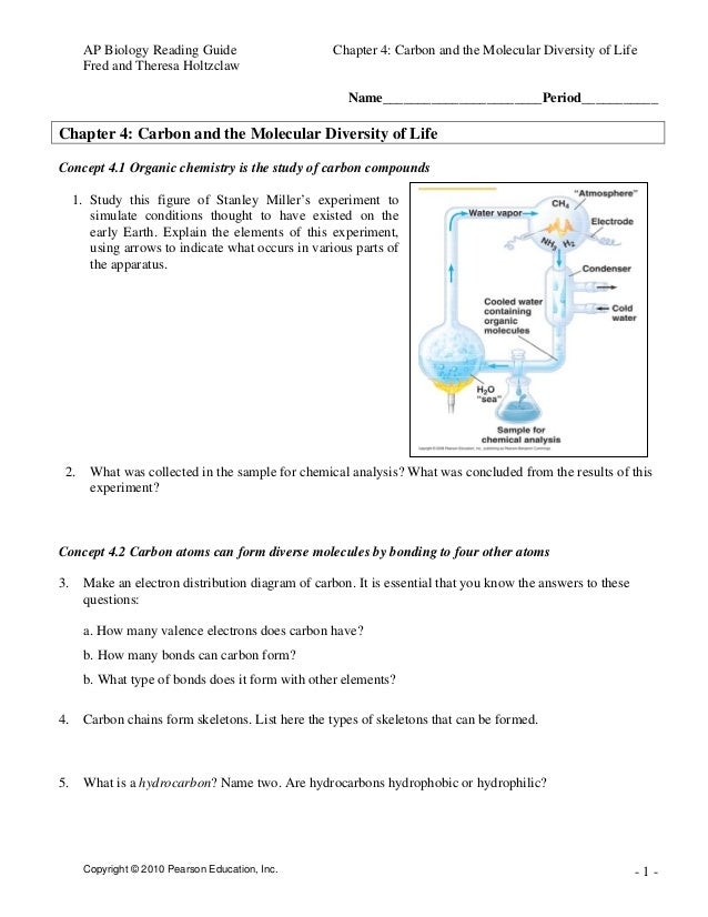 AP Biology Reading Guide Chapter 4: Carbon and the Molecular Diversity of Life Fred and Theresa Holtzclaw Copyright © 2010...