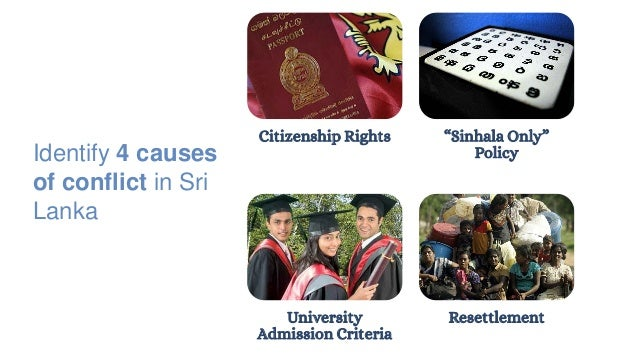 """Citizenship Rights """"Sinhala Only"""" Policy University Admission Criteria Resettlement Identify 4 causes of conflict in Sri L..."""