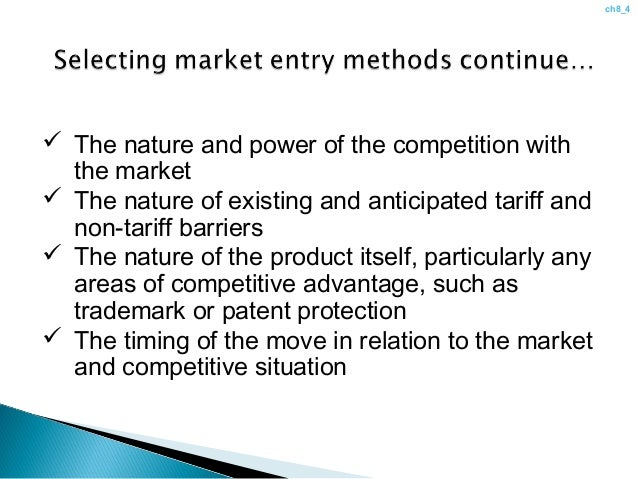 global market entry modes chapter 8 Strategic management:concepts and cases 9e part ii: strategic actions: strategy formulation chapter 8: international strategy ©2011 c.