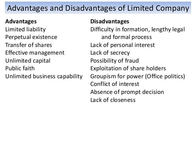 Advantages And Disadvantages Of Limited Company Liability