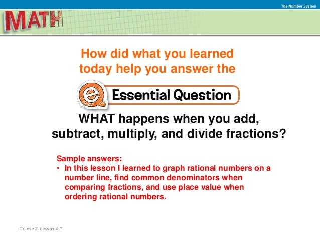 7 Lesson 4 2 Compare And Order Rational Numbers