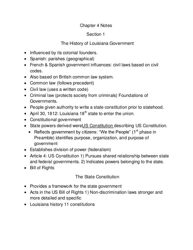 Chapter 4 Notes                             Section 1                The History of Louisiana GovernmentInfluenced by its ...