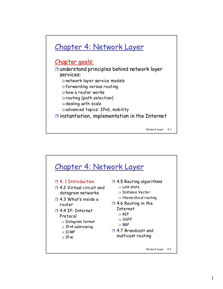 Chapter 4: Network LayerChapter goals: understand principles behind network layer services:   network layer service models...
