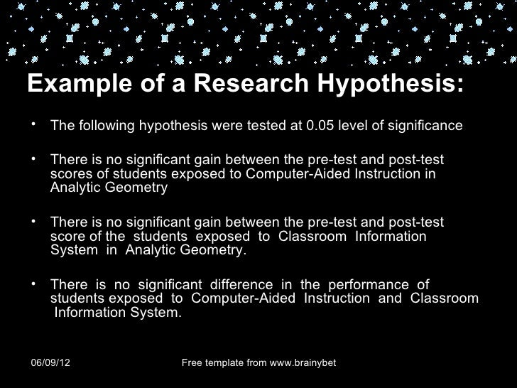 Hypothesis+exaample research papers