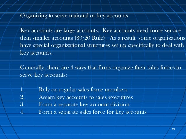 chapter 4 sales organizations Module 4 organizing the activities of sales managers and sales  people 11.