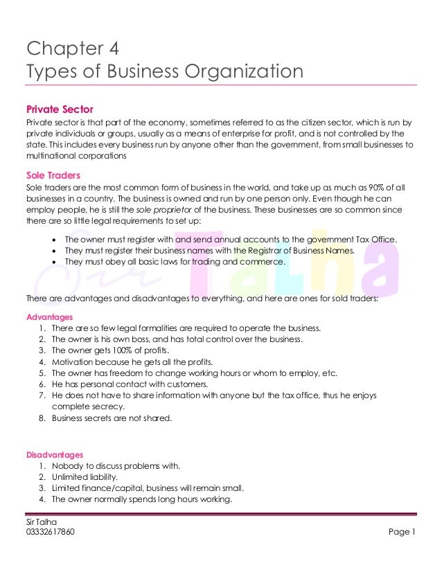 Chapter 4 types of business organization
