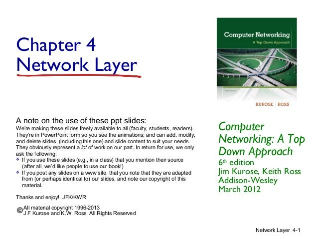 Chapter 4 Network Layer A note on the use of these ppt slides: We're making these slides freely available to all (faculty,...